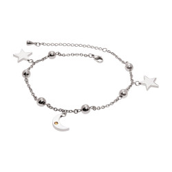 Moon & Star Anklet-Rhodium...