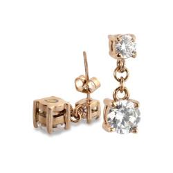 2 CZ Rose Gold Earrings (SS)